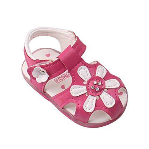 Baby Schuhe Auxma Baby Mädchen Sonnenblume Sandalen beleuchtete Soft-Soled Prinzessin Schuhe (3-6 M, Rose rot)