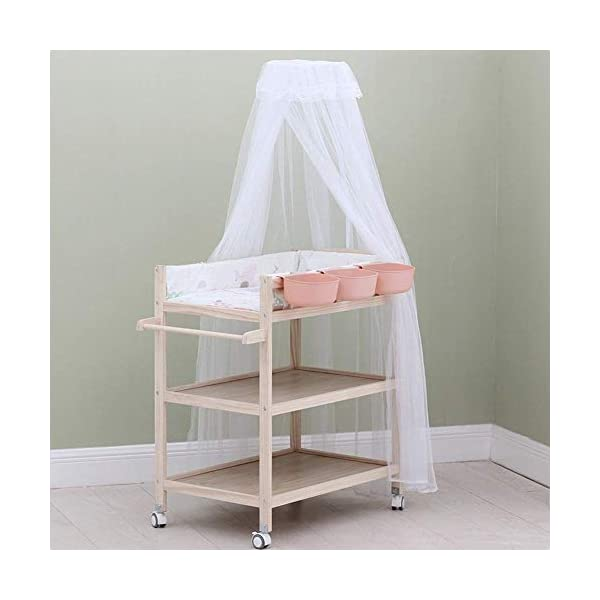 Baby Changing Table Dresser Unit with Mosquito Net & Storage Box, Heavy Duty Wood Diaper Station On Wheels GUYUE 2-gear higth adjustment (88-95cm), the height can be adjusted freely according to the height of the mother. Guardrail: Guardrail height 13cm, Protect your baby's delicate body. Strong and sturdy wood construction, Pine wood production, health and Environmental Protection.(Load bearing 150kg) 3