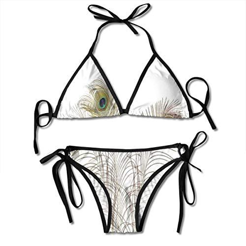 Women's Swimsuit Two Pieces Bikini Set, Peacock Feathers Closeup Simple Picture Minimalistic Design Artistic Print,Swimwear Bathing Suits -