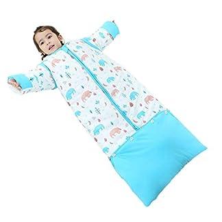 Emmala Saco De Dormir De Invierno Casual Chic para Bebé con Saco De Dormir Desmontable De Manga Larga Saco De Dormir De Bebé Invierno 3.5 TOG Forro Cálido Longitud Ajustable Azul L Longitud 100Cm