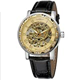 Winner Reloj Hombre Luminoso Mecánico Automático Diamantado Esqueleto Dial Correa de Cuero de 3 Puntos Reloj Transparente para Negocios,Gold