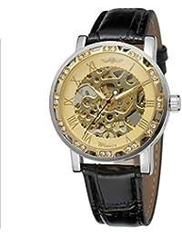 Winner Reloj Hombre Luminoso Mecánico Automático Diamantado Esqueleto Dial Correa de Cuero de 3 Puntos Reloj