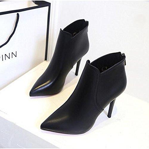 HSXZ Scarpe donna pu primavera cadono Comfort Bootie stivali Stiletto Heel Babbucce/stivaletti di abbigliamento casual nero Black