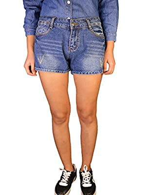 PHOENISING Women's Flap Pockets Design Sexy Stretchy Skinny Jean Shorts,Size 6-20
