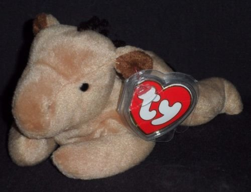 Ty Derby Beanie Baby Horse (Faux Fur Mane) with Rare ERROR Tags