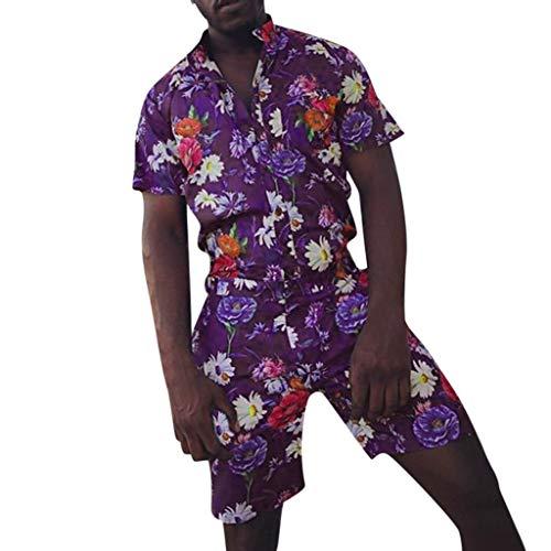 nner Casual Button Hawaii Print Strand Kurzarm Schnelltrocknender Anzug ()