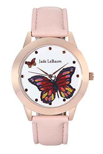 Jade LeBaum Damen-Kleid-Uhr Groß Gesicht Schmetterling Zifferblatt-Rosa-Leder-Band-Roségold Fall Einzigartige JB202812G (- Frau Uhr In Genf Für)