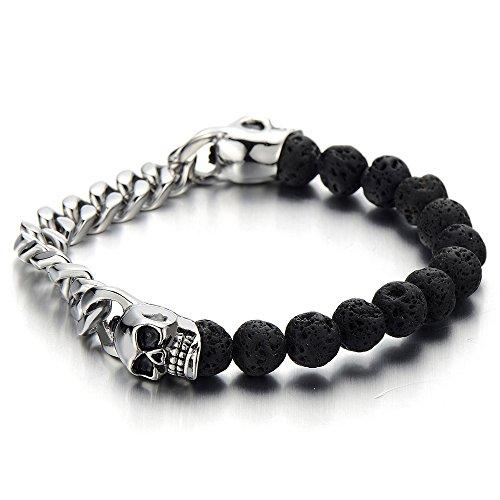 Herren Panzerkette 8MM Schwarz Vulkanisch Lava-Felsen Stein Perlen Armband mit Edelstahl Schädel (Schädel-perlen Charms Und)