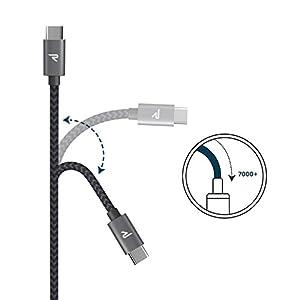 Cable Tipo C a USB A 3.0 Rampow® Cable USB C Tipo C de Duradero Nylon - Carga Rápida y Sincronización - 1m / 3.3ft - GARANTÍA DE POR VIDA – [USB C a USB 3.1 Gen 1] – Para el Samsung S9 / S8, Nuevo Macbook Apple, Nexus 5X / 6P, OnePlus 2/3, Nintendo Switch, Google Pixel Otros Dispositivos USB C- Gris Espacial