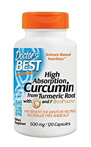Doctors Best Curcumin C3 Complex with BioPerine (500mg, 120 Capsules)
