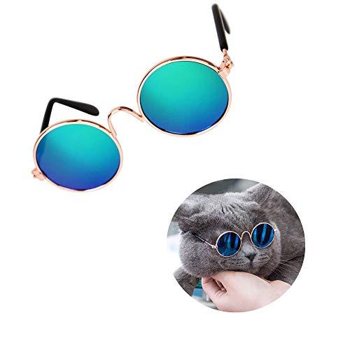 ZYZ Coole stilvolle Haustier-Sonnenbrille lustige süße Klassische Retro kreisförmige Metall-Schutzbrille für Katze Chihuahua oder kleine Hunde (Farbe kann variieren)