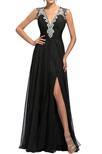 Gorgeous Bride Fashion V-Ausschnitte Lang Chiffon Tüll Schlitze A-Linie Abendkleider Lang Cocktailkleider Ballkleider Schwarz