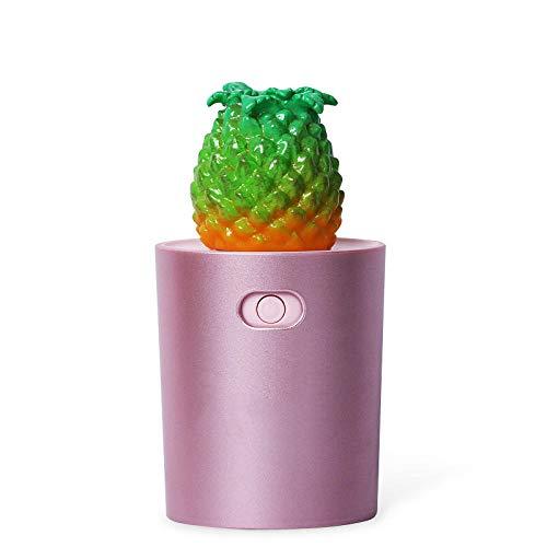 Neue Luftbefeuchter Ultraschall stumm USB-Duft Diffusor Luftentfeuchter Zerstäubung Befeuchtung Ananas bunte Lichter tragbare Mini-Auto nach Hause,Rose rot -