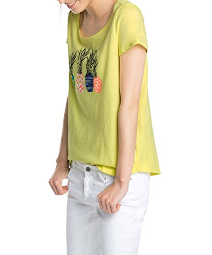 ESPRIT - mit Pailletten, T-shirt, manica corta da donna, multicolore (lemon 743), L