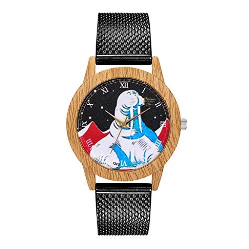 COOKDATE Uhr Lederband Linie Analog Quarz Damen Armbanduhren Geschenk Runde komplette Kalender Schwarz, Gold, Rotgold, Silber