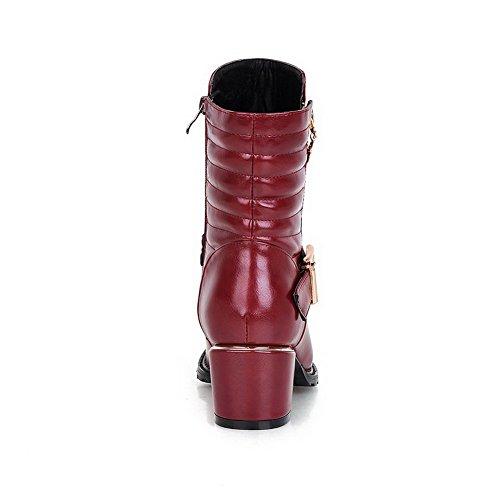 AllhqFashion Damen Mittler Absatz Rein Rund Zehe Blend-Materialien Reißverschluss Stiefel Rot