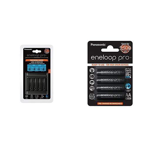 Panasonic eneloop pro, Intelligentes Schnellladegerät mit LCD-Display, für 1-4 Ni-MH Akkus AA/AAA & pro, Ready-to-Use Ni-MH Akku, AA Mignon, 4er Pack, min. 2500 mAh, 500 Ladezyklen