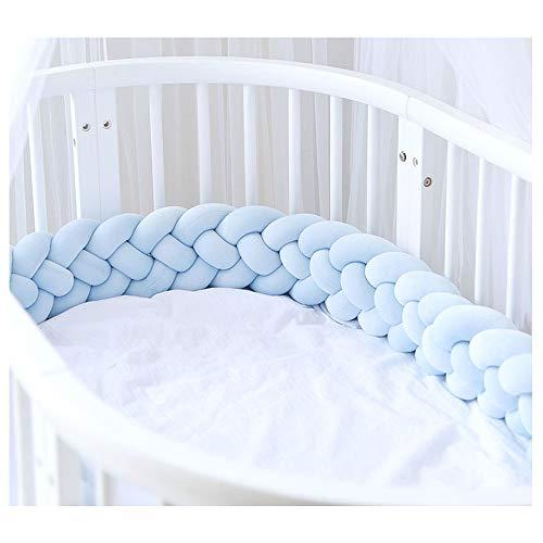 Bettumrandung,Baby Nestchen Kinderbett Stoßstange Weben Bettumrandung Kantenschutz Kopfschutz für Babybett Bettausstattung 220cm (Blau)