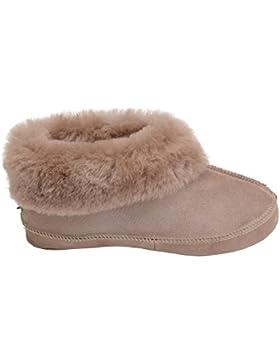 Herren Damen Lammfell Hausschuhe echtleder Gefuttert Wolle Pantoffeln Schlappen Schuhe