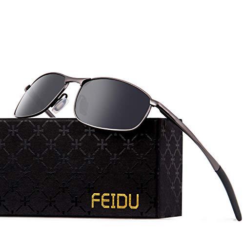 FEIDU Sportbrille Sonnenbrille Herren Polarisierte,HD Lens Metal Frame Driving Shades FD 9005 (Ein Schwarz/Gun, 57)