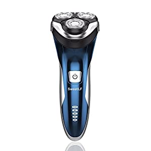 SweetLF 3D Rechargeable IPX7 Waterproof Electric Shaver Wet and Dry Men's Rotary Shavers Electric Shaving Razors with Pop-up Trimmer - Blue