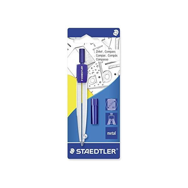 Staedtler 55050BK. Compás escolar con tubo de minas, azul/plata. Presentación en blister
