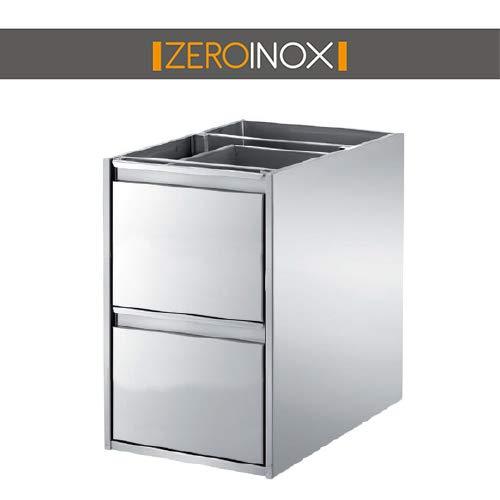 ZeroInox Kommode mit 2 Schubladen aus Edelstahl für Tische – Tiefe 40 & 60 cm – Verschiedene Größen – für Küchen, Pizzerie, Restaurants