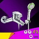 Grifo de baño de cobre oculto con triple interruptor de ducha de agua fría y caliente con pulverizador de agua automático, set de ducha de mano simple
