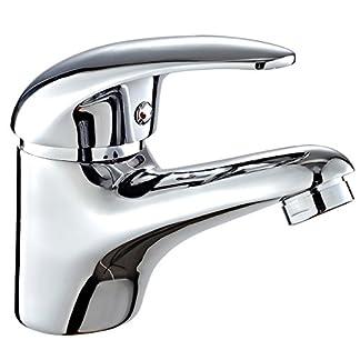 41fBwmRBysL. SS324  - DP Grifería - Grifo monomando de lavabo, color plateado, serie Naranjo