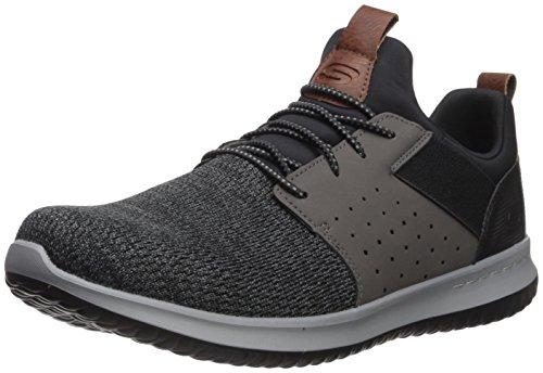 SKEAJ|#Skechers Herren Delson-Camben Sneaker, (Black Gray Mesh W/Synthetic Bkgy), 47.5 EU Mesh-oxford