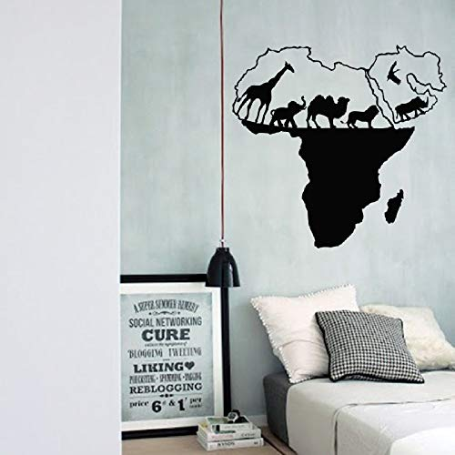 Geiqianjiumai Vinyl Kunst Aufkleber Weltkarte Wilde Afrika natürliche Tier Dekoration wandaufkleber Wohnzimmer Dekoration wandmalerei schwarz 57X58 cm