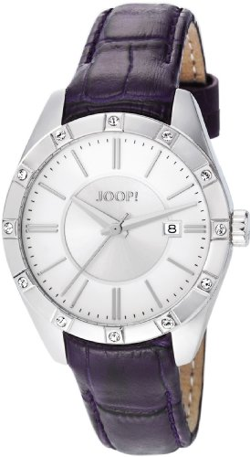 Joop Emblem Women's Quartz Watch with Silver Dial Analogue Display and Purple Leather Strap JP101022F04