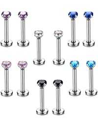 Candyfancy 6 Set Nose Labret Lip Ear Piercings Cartilage Tragus Helix Studs Earrings 16G 2-4mm CZ 6-10mm Bar