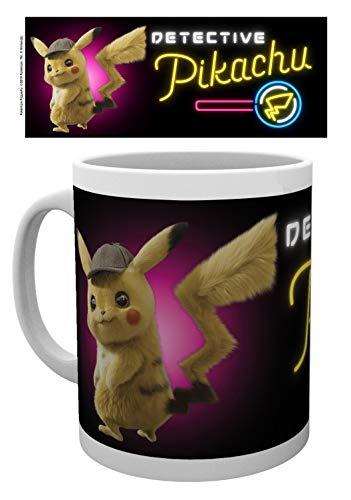 1art1 Set: Pokemon, Detective Pikachu, Neon Foto-Tasse Kaffeetasse (9x8 cm) Inklusive 1x Überraschungs-Sticker