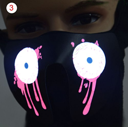 Kostüm Tanz Dekorationen - MASKUOY Halloween-Maske wasserdichte Led Leuchtende Blinkende Gesichtsmaske Partei Liefert Masken Leuchten Tanz Halloween Kostüm Dekoration Cosplay Masken