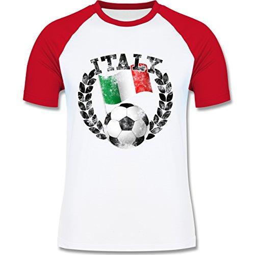 EM 2016 - Frankreich - Italy Flagge & Fußball Vintage - zweifarbiges Baseballshirt für Männer Weiß/Rot