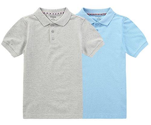 6x T-shirt (Bienzoe Jungen Antimikrobiell Atmungsaktiv Kurzarm Polo 2er Pack Blau grau Größe 6/6X)