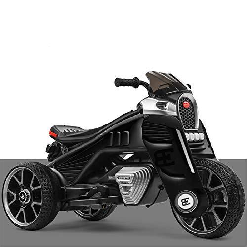 Lvbeis Elektrisches Kinderfahrzeug Kinder Motorrad Trike Elektrofahrzeug für Kinder von 2 bis 11 Jahren, 12 V Batterie, 3.8 km/h, Licht und Sound,Black