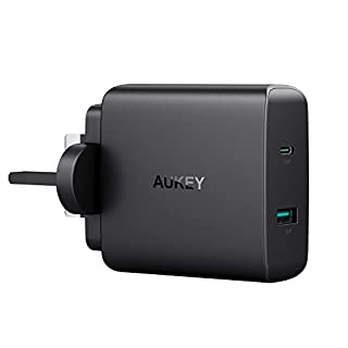 AUKEY USB C Wall Charger with 56.5W Power Delivery 3.0 & 5V 2.1A USB Charger Plug for MacBook/Pro, Nintendo Switch, Samsung Galaxy S8/S8+/Note8, Google Pixel, iPhone XS/XS Max/XR, iPad and More