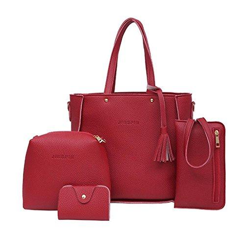 ¡GRAN VENTA! 4 Piezas Bolsos de Hombro de mujeres, Holacha Bolsos de mano de Cuero Suave (Rojo)