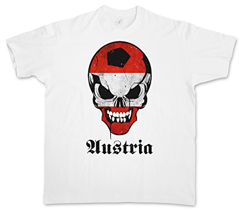 Urban Backwoods Classic Football Soccer Calcio Austria Skull Flag T-Shirt – Cranio Bandiera Fan Hooligan Österreich T-Shirt Taglie S - 5XL Bianco