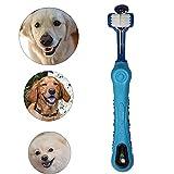 AIDIYA Hund Zahnbürste für Pet Dental Care – Triple Zahnbürste – Griff Design für einfache Oral Care Pflege (Blau)