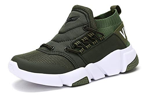 VITIKE Kinder Schuhe Jungen Schuhe Mädchen Sneaker Damen Sportschuhe Outdoor Schuhe Jungen Turnschuhe Laufschuhe Schnürer Freizeit Sportschuhe Kinder Sneaker, 1-grün, 31 EU