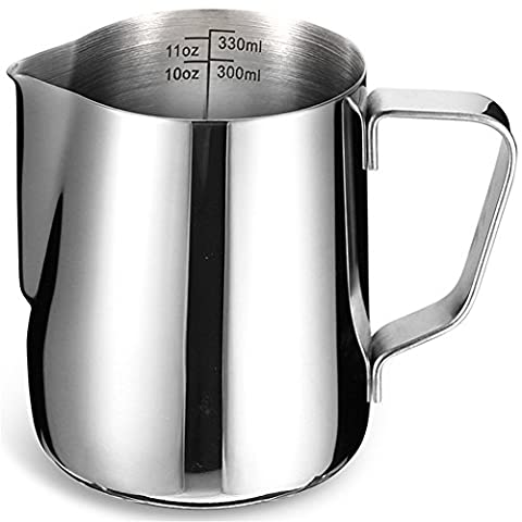 Milk Frothing Pitcher with Measurement Markings | BluFied 12oz / 350ml Stainless Steel Jug Cup for Barista Cappuccino Espresso Machine Coffee Cafe Latte Maker Art (350ml with Scale)