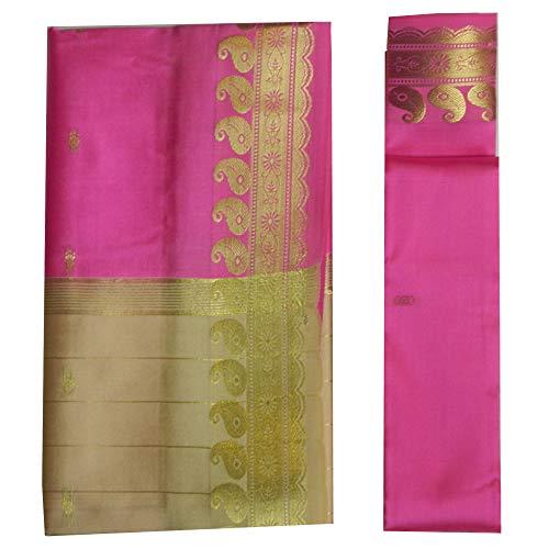 (indischerbasar.de Brokat Sari beige pink Goldbrokat Indien Tracht Bindi Ohrhänger Wickelkleid Polyester)