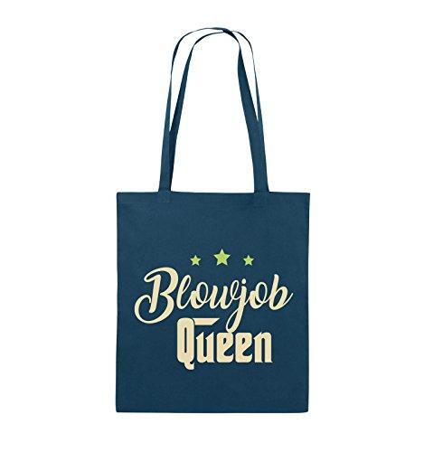 Comedy Bags - Blowjob Queen - Jutebeutel - lange Henkel - 38x42cm - Farbe: Schwarz / Weiss-Neongrün Navy / Beige-Hellgrün