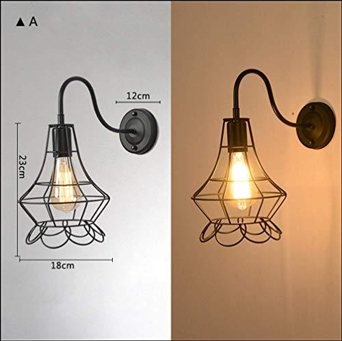 E27 Wandleuchte American Vintage Loft Industrial Iron Cage Light, a ()