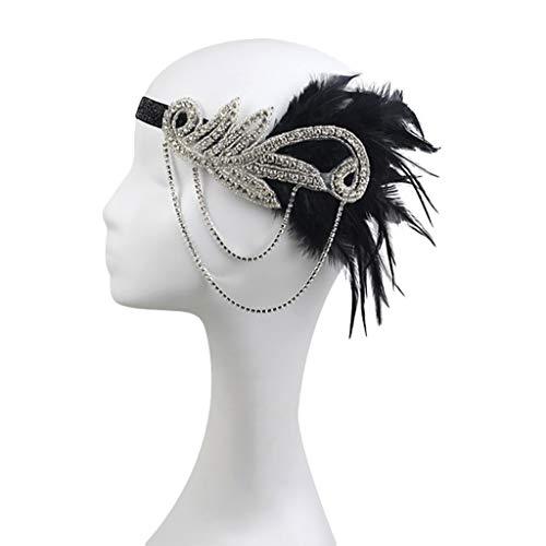 Yazidan Flapper Feder Stirnband der 1920er Jahre Zubehör Kristall Perlen Hochzeit Kopfschmuck Feder Stirnband Jahre Stil Art Deco Flapper Haarband Great Gatsby Stirnband Damen Kostüm Accessoires