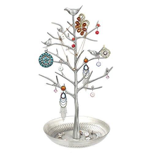 Schmuckständer /Schmuckhalter /Ohrringhalter, Schmuck Organizer Vögel Baum für Schmuck Ohrring Halsketten Halter Schmuckständer zur Aufbewahrung, Silber Schmuck Halter Baum