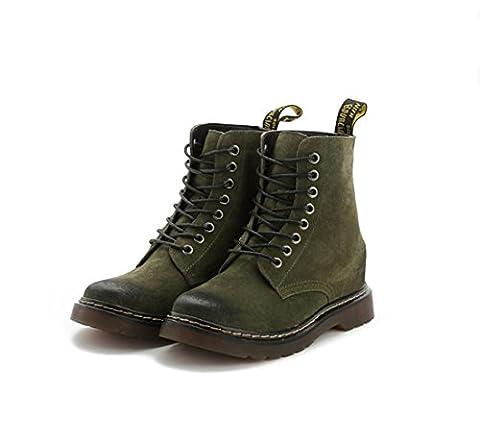 Dames Bottes courtes New Leisure Round tête Low Rough Heel Bottes en cuir véritable Strappy Martin Boots Black Spring Fall Winter Party Work , 1 , EUR 38/ UK